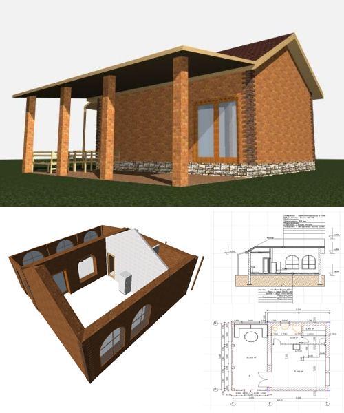 3D проект финской бани с планировкой
