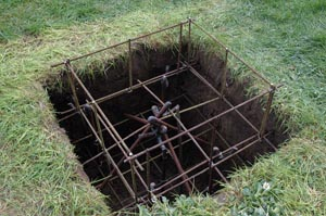 Армированное место под заливку бетона
