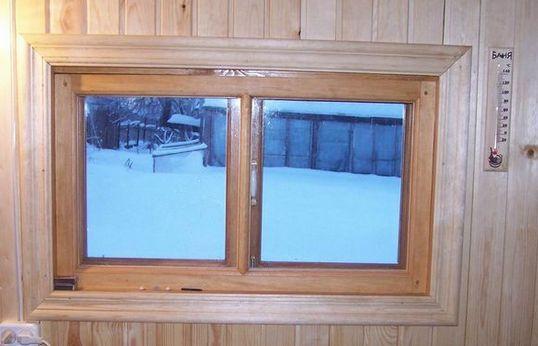 Банное окно распашного типа