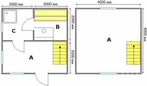 Баня 4х4 с мансардой – два в одном: первый этаж – баня; второй, в мансарде – полноценная гостиная-спальня