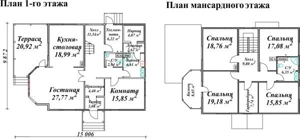 Деревянная баня и дом с мансардой