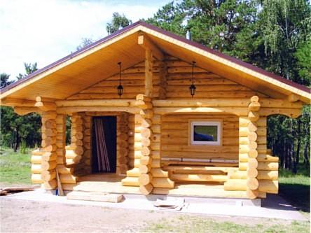 Двускатная крыша для бань из бревна