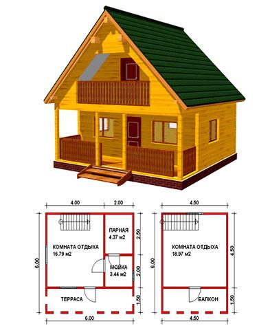 Эскиз и проект двухэтажной брусовой бани с террасой и балконом.