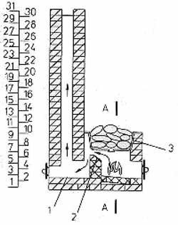 """Это очень простой и поэтому лучший пример кирпичной каменки для бани (схема """"F"""")"""