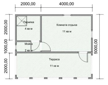 Этот проект бани из керамзитобетонных блоков отличается от предыдущего большим размером комнаты отдыха и более широкой террасой. Парилка, как и в предыдущем варианте, готова вместить не больше двух человек за раз, а мойка стала даже более компактной.