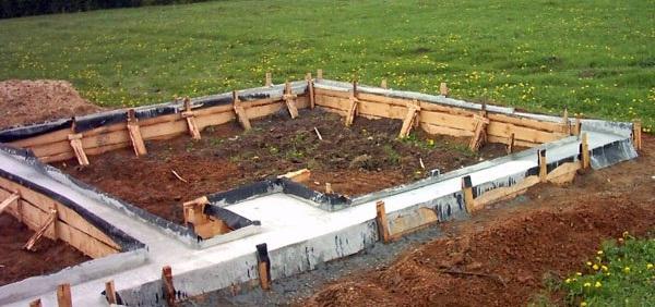 Фундамент для бани с посадочным местом для печи
