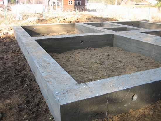 Фундамент под баню из бруса ленточного типа