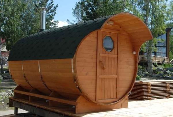И такая баня-бочка может быть построена