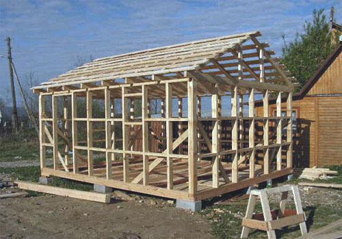 Каркас бани с двускатной крышей