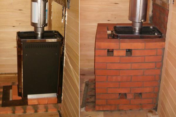 Металлическая печь до и после обкладывания