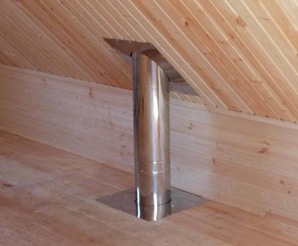 Металлический выхлоп на чердаке