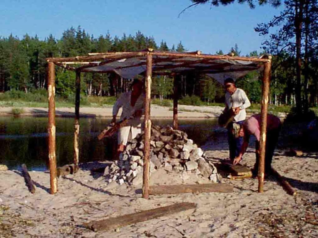 Как сделать баню в походных 61