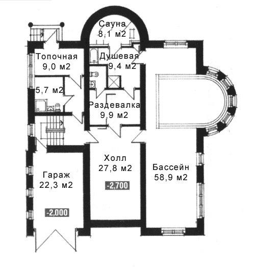 На фото - план этажа дома с гаражом и сауной