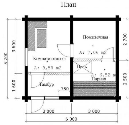 На фото показан фрагмент проекта деревянной бани.
