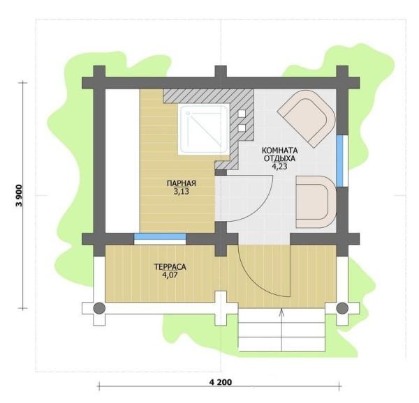 На фото показан план компактной бани для небольшой семьи.