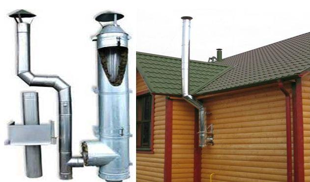 На фото показаны примеры конструкции отводящего дым канала.