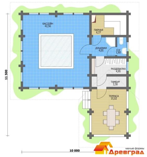 На фото представлен план бани с бассейном.