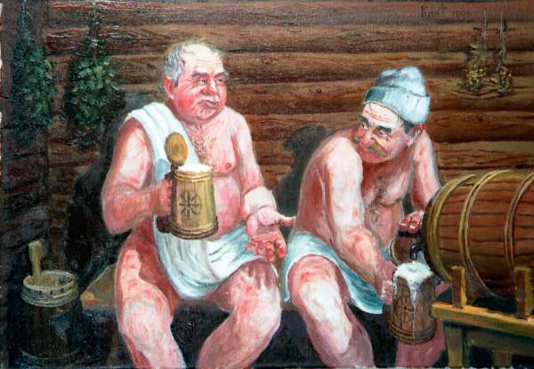 На картине изображены люди, пьющие квас в предбаннике.