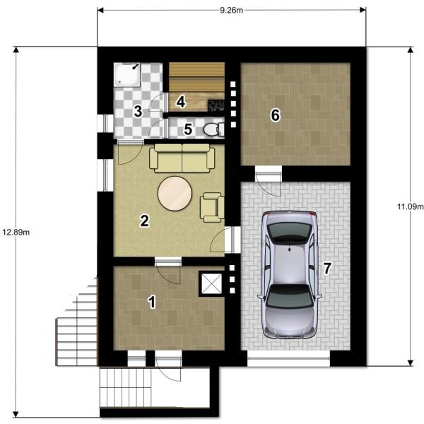 Небольшой дом с сауной и гаражом на одну машину