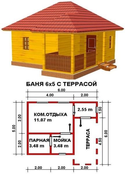 Одноэтажный вариант с террасой.