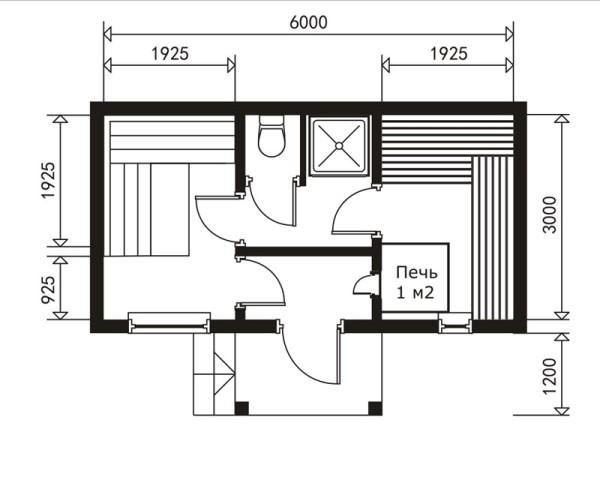 Парилка продолжает увеличиваться в размерах за счет предбанника. Середина строения вмещает теплый тамбур, душ и туалет.