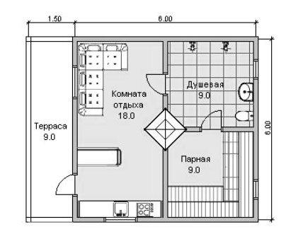 Первый этаж – под баню