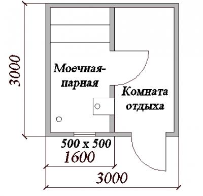 План бани 3х3 м