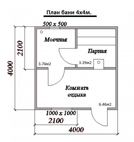План бани 400x400 см