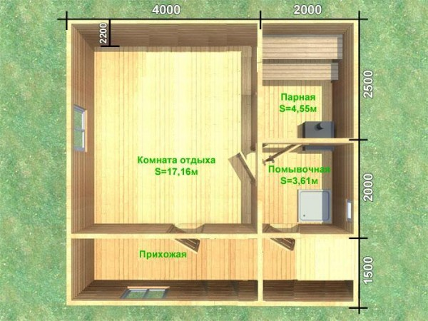 План бани с просторной комнатой отдыха.