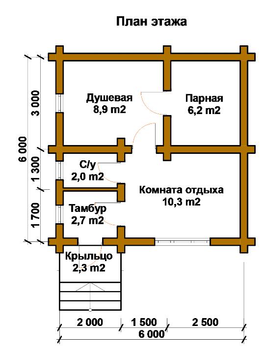 План банной постройки из
