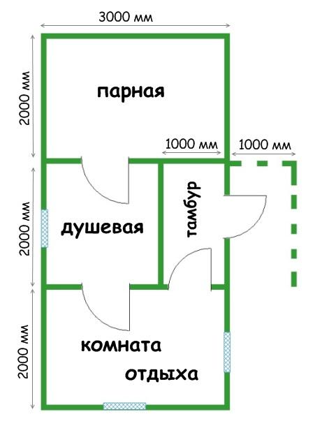 План банной постройки.