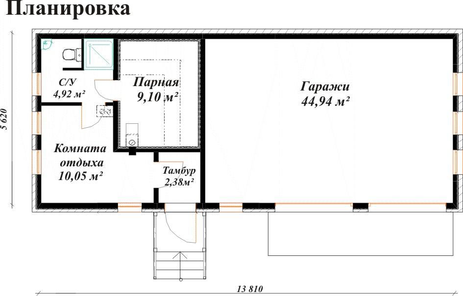 План постройки, в которой баня