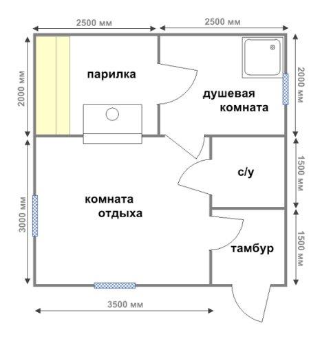 Планировка бани 5 на 5 для дачного участка