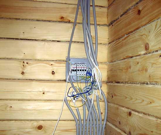 Подводка кабелей к щитку в пластиковых негорючих гофрах