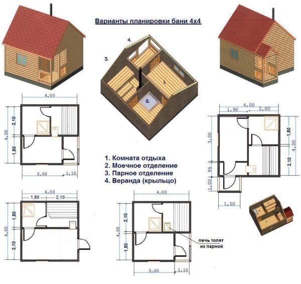 Представлены варианты планировки подобной конструкции.