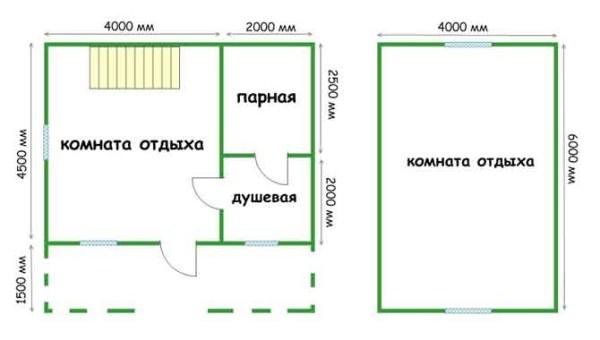 Пример плана-чертежа бани.