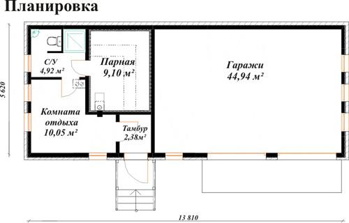 Пример планировки бани с гаражом под одной крышей