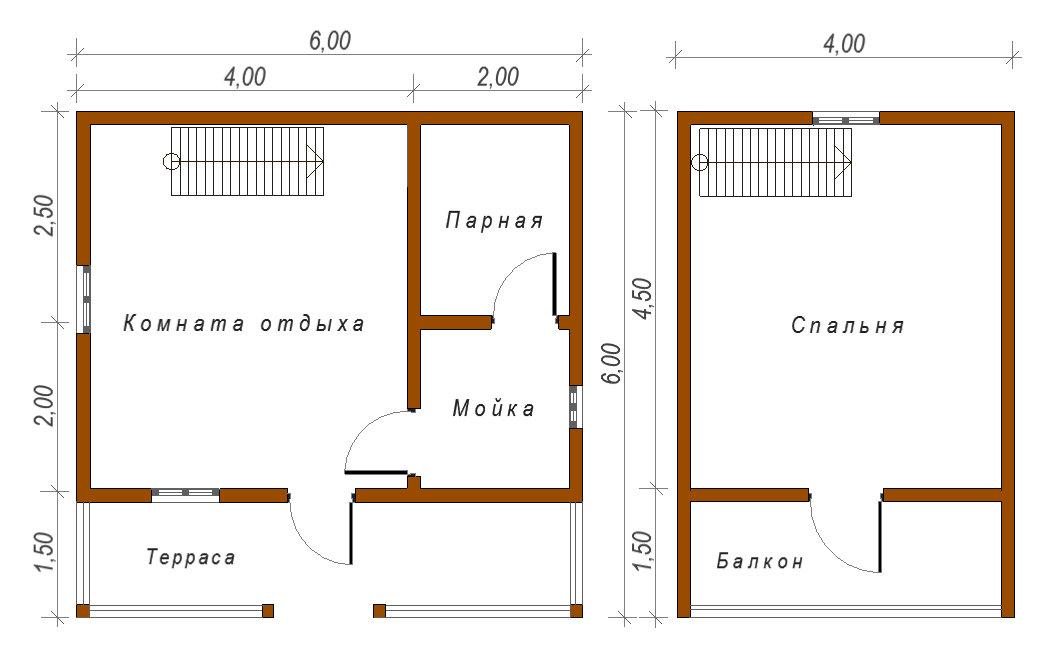 Проект бани 6х6