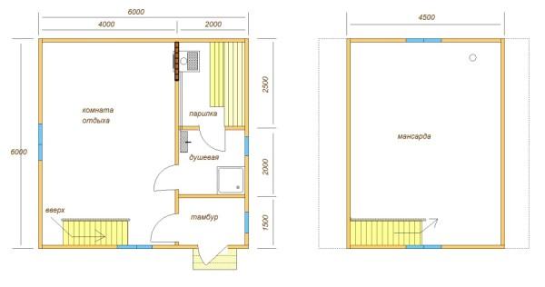 Проект двухэтажной бани 6х6 с мансардой
