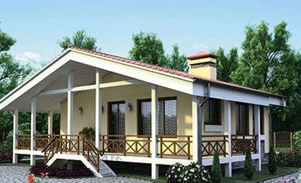 Проект небольшого дома с сауной на свайном фундаменте