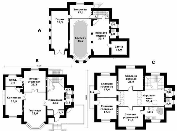 Проект «С»: бассейн и сауна – в цокольном этаже, гостиная и кухня – на первом, спальни – на втором