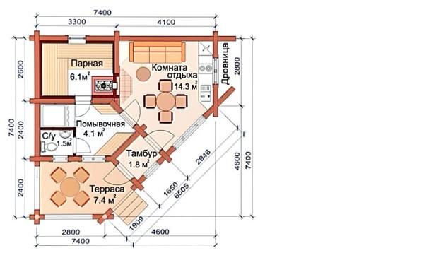Проект угловой бани – это полноценный гостевой дом