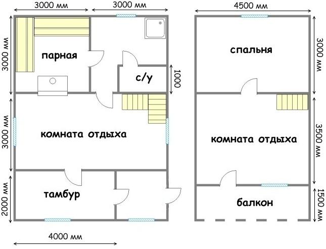 Схема двух этажей бани с
