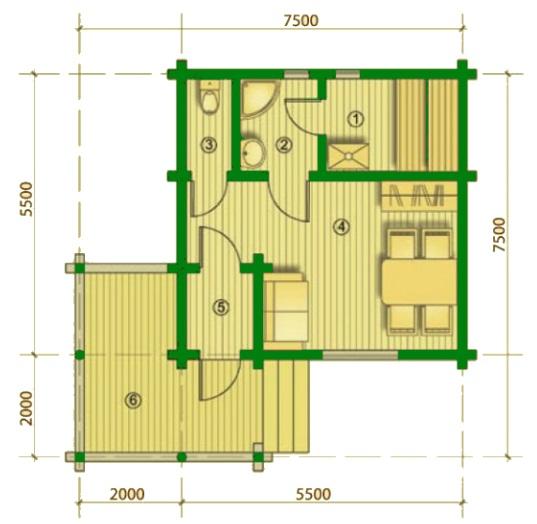 Схема планировки бани с террасой.