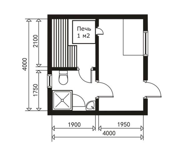 Справа расположена комната отдыха, совмещенная с предбанником.