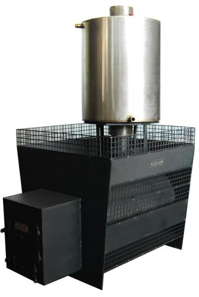 Стальная печь с баком для воды и местом под камни