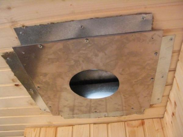Стальной лист с асбестовой прокладкой защищают потолок от избыточного нагрева.