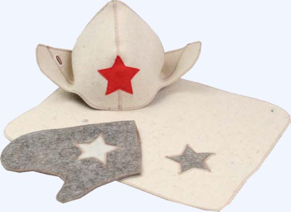 Стандартная минимальная комплектация: коврик, шапка, рукавицы