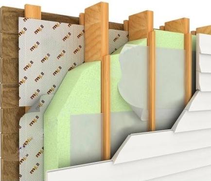 Стена, утепленная плитами из пенополистирола