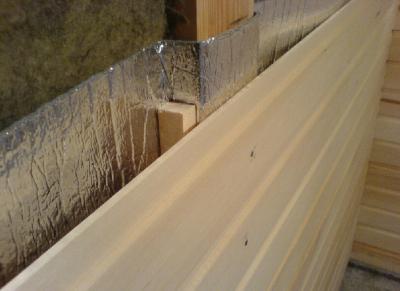 Структура утепления стен парилки.